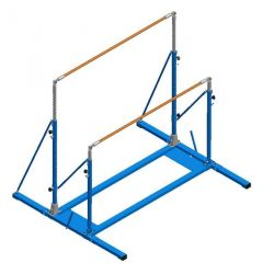 FREE-STANDING UNEVEN BARS WITH FOLDING BASE AND ROLLERS