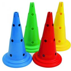MULTI-PURPOSE HOLED MARKER CONES WITH SLOTTED TOP - HEIGHT 50 CM SET OF 4