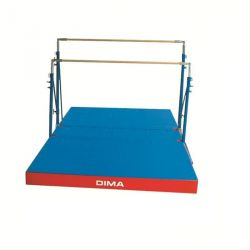 FREE-STANDING UNEVEN BARS  WITH ROLLERS AND MATTRESS