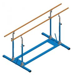 FREE-STANDING PARALLEL BARS  WITH FOLDING BASE AND ROLLERS