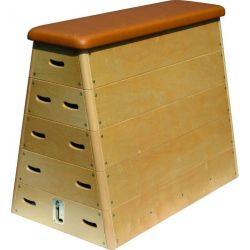 PYRAMID WOODEN VAULTING BOX WITH ROLLERS